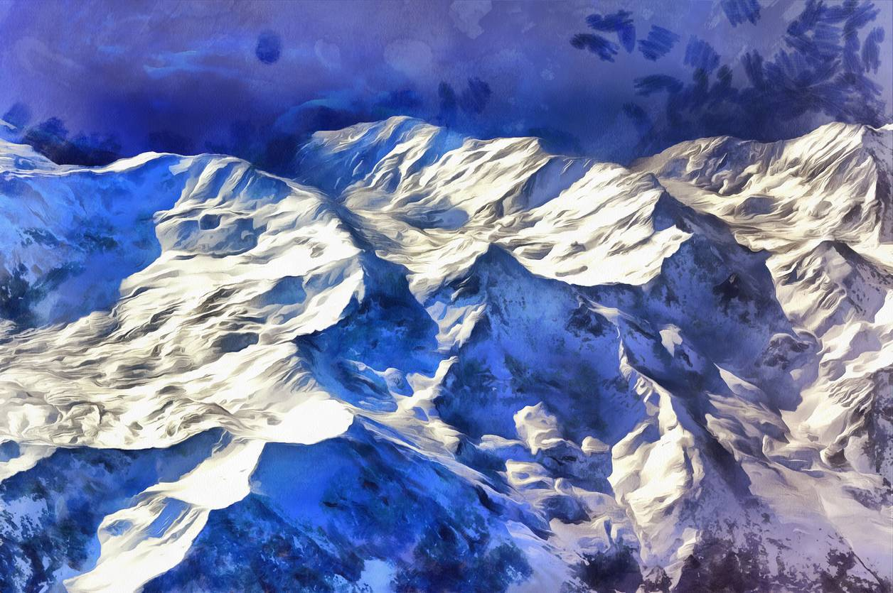 peinture tableau montagne